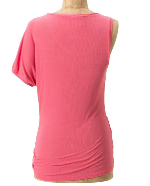 Anthropologie Super Soft Stretchy Only One Sleeve Easy Care Super Unique Top Coral