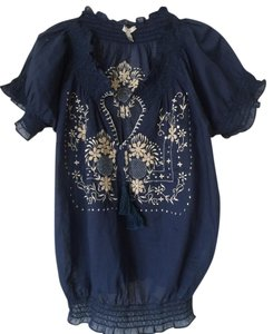 Joie Cream Romantic Cotton Top NAVY