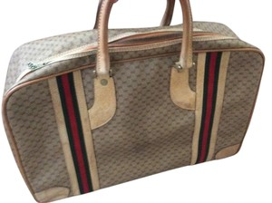 Gucci Beige With Green And Red Strips Travel Bag
