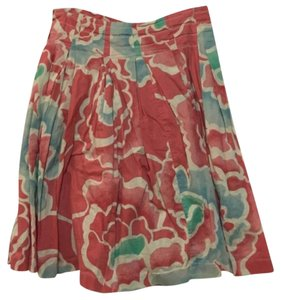 Anthropologie Skirt Coral, white, turquoise