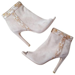 Twelfth St. by Cynthia Vincent Embroidered Leather Suede Heel Nude Boots