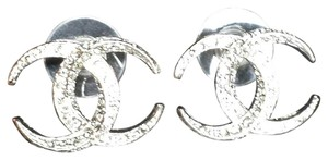 Chanel New in Box CC Moon Earrings Sliver Color