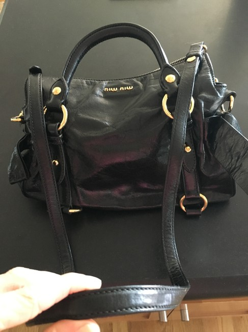 Item - Mini Black Leather with Gold Hardware Satchel