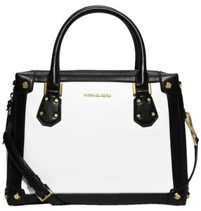 Michael Kors Taryn Large Leather Satchel in White / Black