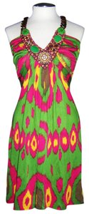 Anthropologie short dress Multi Color Silk Short Beaded V-neck Spring on Tradesy