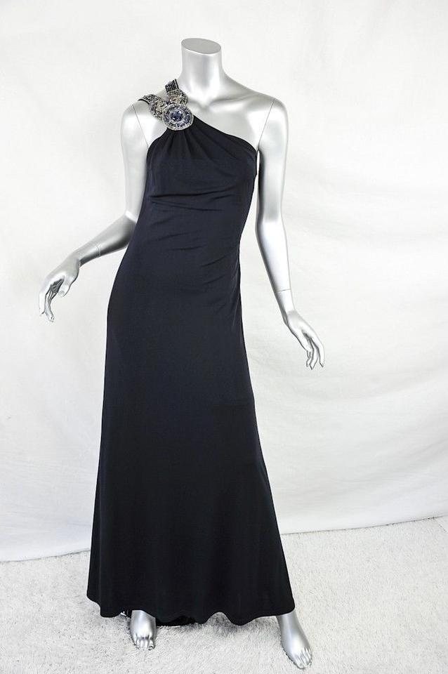David Meister Navy Beaded-one-shoulder Gown Long Formal Dress Size ...