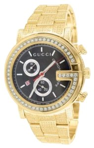 Gucci Mens 15 Carat Gucci Ya101334 Gg Diamond 14k Yellow Gold Stainless Steel Watch