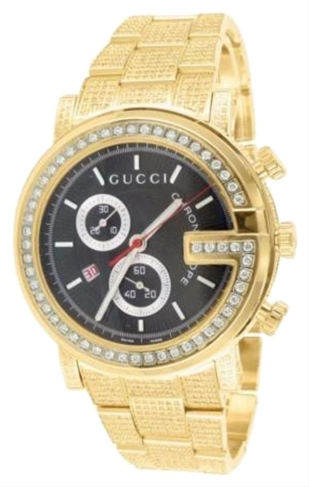 15f362aab67 Gucci Mens 15 Carat Gucci Ya101334 Gg Diamond 14k Yellow Gold Stainless  Steel Watch Image 0 ...