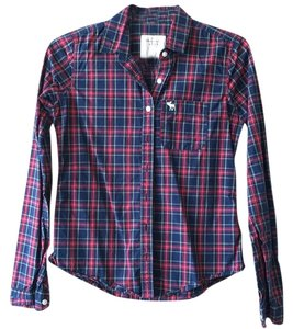 Abercrombie & Fitch Button Down Shirt Red, navy, yellow