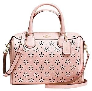 Coach Leather Laser Satchel in peach rose glitter