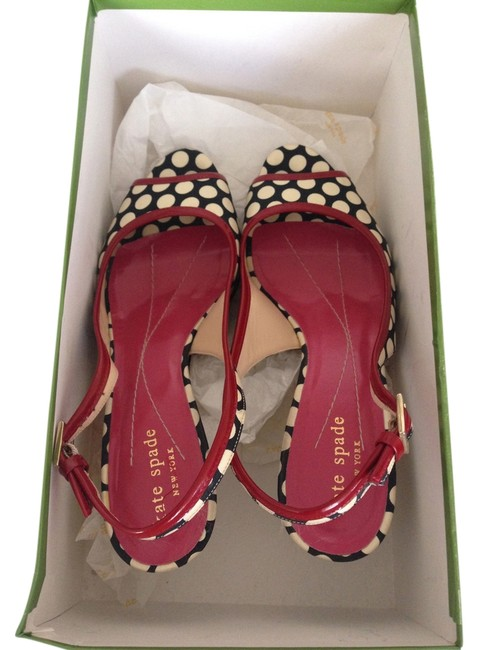 Item - Black and White Dot with Red Leather Trim Pumps Size US 6.5 Regular (M, B)