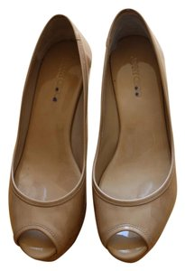 Jimmy Choo Patent Leather Peep Toe Nude Wedges
