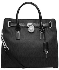 Michael Kors Large Hamilton Signature Pvc Tote Satchel in Black on Black