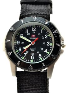 Other Black Unisex Sports Watch with Web Band and Compass Free Shipping