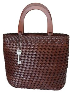 Fossil 1954 Basketweave Leather Tote in Brown
