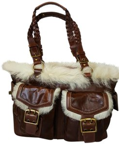 Coach Vintage Leather Fur Tote in Brown