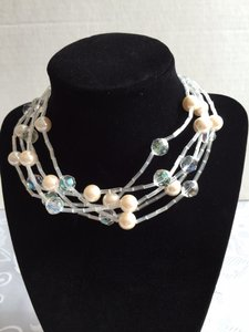 Other Faux Pearl, Clear Beads Multi-Strand Adjustable Choker
