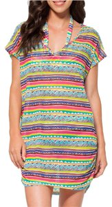 Anne Cole ANNE COLE MULTI COLOR MESH V NECK TUNIC SWIMSUIT COVERUP