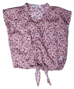 Forever 21 Button Down Print Self Tie Top Pink