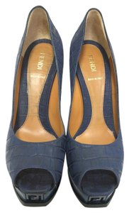 Fendi Crocodile Embossed blue Pumps