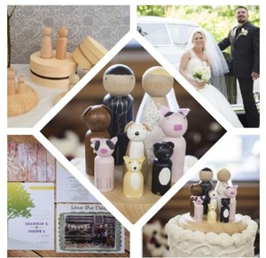 Custom Peg Doll Wedding Cake Topper (+6 Pets/children)