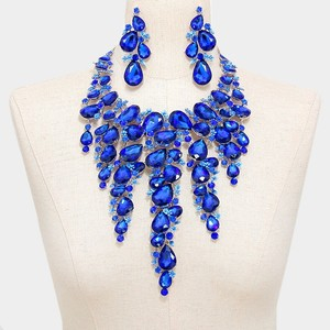 Blue Rhinestone Crystal Teardrop Fringed Statement Necklace And Earrings