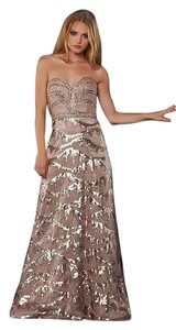 Bari Jay Sweetheart Evening Nude Sequin Dress