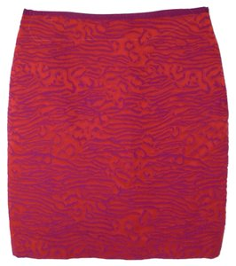 The Limited Pencil Brocade Work Skirt Coral and Purple