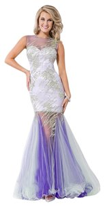Party Time Formals Sheer Skirt Open Back Prom Dress