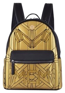 MCM Gold Geonic Scratch Resistant Material Backpack