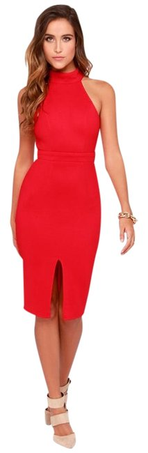 Item - Red Outstanding Features Mid-length Cocktail Dress Size 6 (S)
