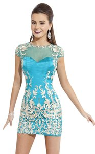 Rachel Allan Illusion Embroidered Short Homecoming Prom Dress