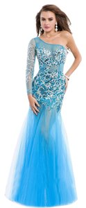 Party Time Formals Illusion Sleeve Sheer Skirt Plus Size Prom Dress