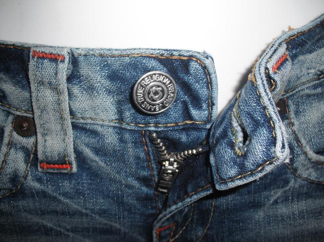 True Religion Distressed Horse Shoe Logo Boot Cut Jeans-Distressed