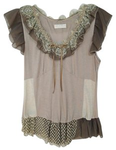 Forla Paris Lace Ribbon Sleeveless Top Taupe