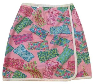 Lilly Pulitzer Shift Chameleon Reversible Vintage Mini Skirt Pink Multi