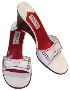 Isaac by Isaac Mizrahi Leather white with red trim Sandals