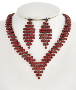 ICE Red Diamond Rhinestone Necklace & Post Earrings
