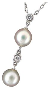 Mikimoto Mikimoto K18 White Gold Two Drop Akoya Cultured Pearl Necklace with Two Diamonds Chain 16