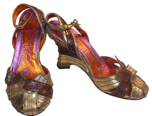 Irregular Choice Gold Bronze Silver metallic Wedges