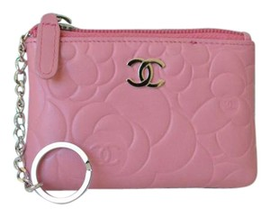 Chanel CHANEL Pink Camellia O Key Holder Coin Purse