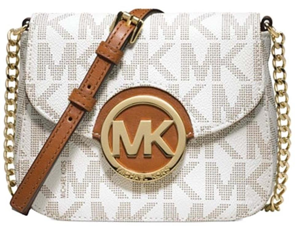 b5bcc662df0f27 Michael Kors Mk Siganture Pvc Leather Gold New With White Cross Body Bag  Image 0 ...