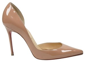 Christian Louboutin Iriza 100mm 37.5 7 7.5 Nude Patent Leather D'orsay Pointed Toe Pump Wedding Shoes