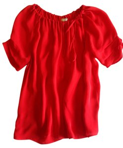 Joie Summer Silk Top Red