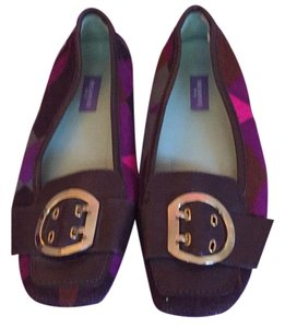 Emilio Pucci Brown leather/plum multi suede Flats