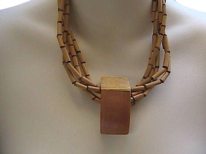 Vintage Unique Vintage 14k Gold filled Bamboo and Mother of Pearl Necklace