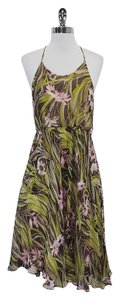 MILLY Brown Green Pink Floral Print Halter Dress