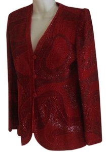 Emanuel Ungaro Vintage Ruby Red Beaded 80s Jacket