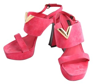 Louis Vuitton Suede Heels Red Platforms