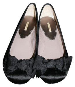 Max Studio Bow Satin Leather Sole Ballet black Flats